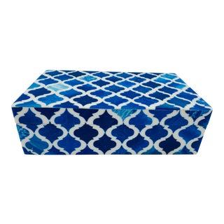 Blue and White Quatrefoil Trellis Bone Box For Sale