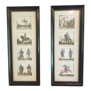 Late 19th Century Antique Italian Lithographs - a Pair For Sale