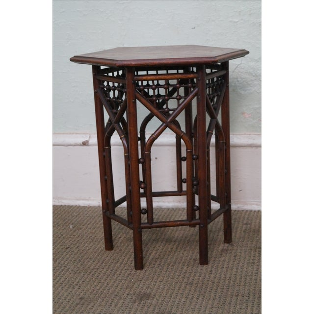 Arts & Crafts Antique Oak Stick & Ball Hexagon Taboret Plant Stand For Sale - Image 3 of 10
