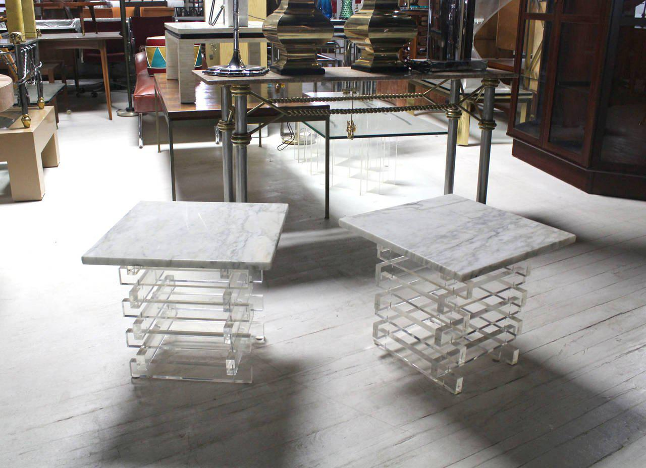 Pair Stacked Lucite Base And Marble Top Square Side Mid Century Modern End  Table   Image