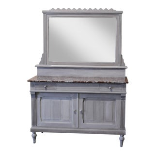 French Painted Marble Top Vanity For Sale