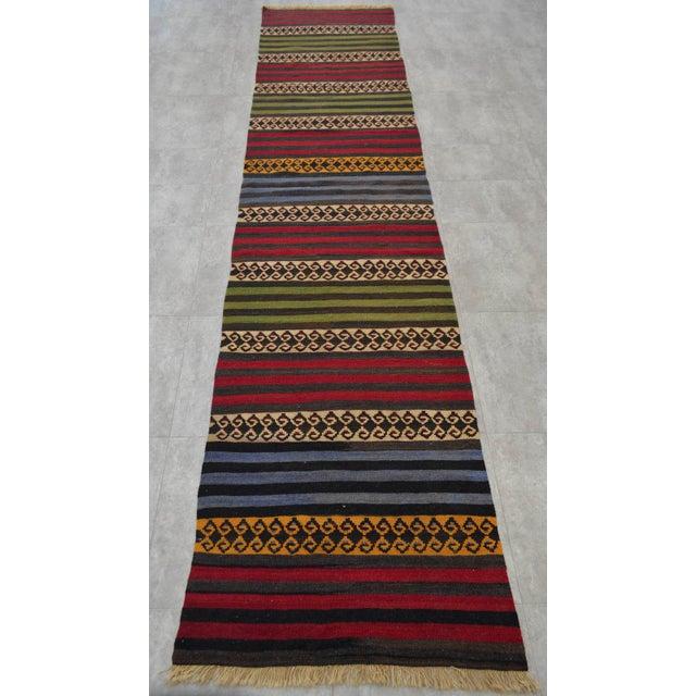 "Anatolian Wool Kilim Long Runner Rug - 2'7"" X 12'3"" - Image 5 of 9"