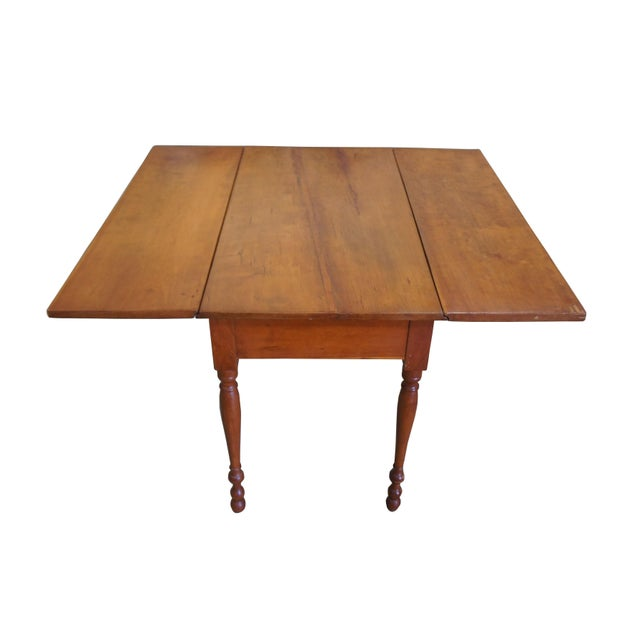 1900s Early American Style Solid Pine Drop Leaf Dining Table For Sale - Image 6 of 13