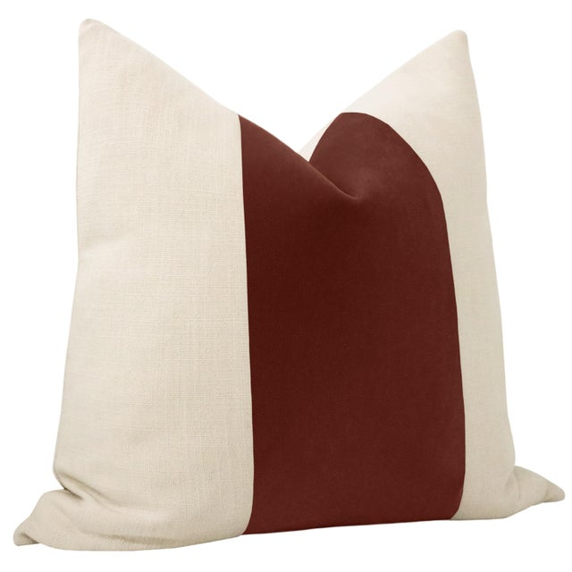 "Contemporary 22"" Rouge Mohair Velvet Panel & Linen Pillows - a Pair For Sale - Image 3 of 6"