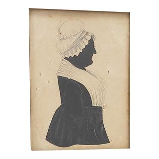 """Antique """"Old Woman With Bonnet"""" Silhouette Portrait C.1850s For Sale"""