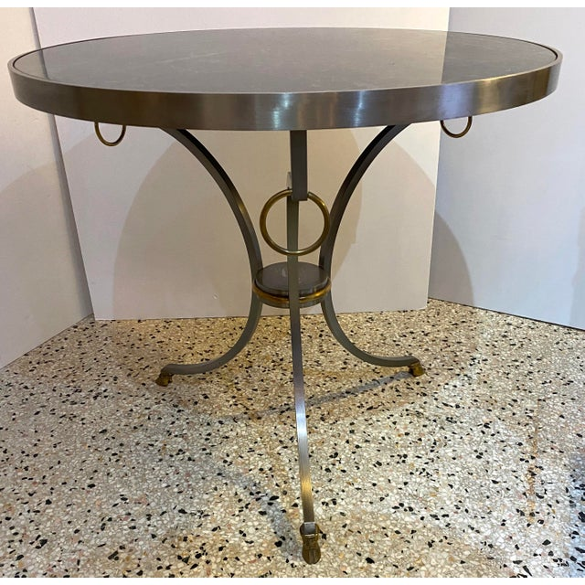 Mid-Century Maison Jansen Attributed Louis XVI Style Gueridon Side Table in Steel, Brass and Verdigreen Marble For Sale In West Palm - Image 6 of 13