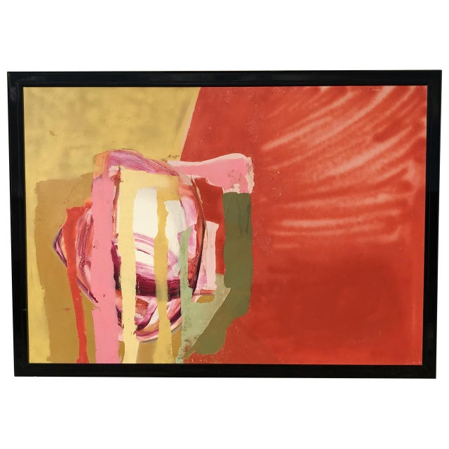 Mid Century Modern Red Painting For Sale - Image 5 of 5