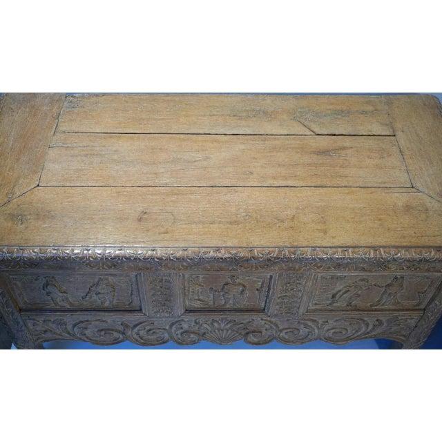 Metal Antique Carved Oak Flemish Coffer Blanket Trunk For Sale - Image 7 of 12