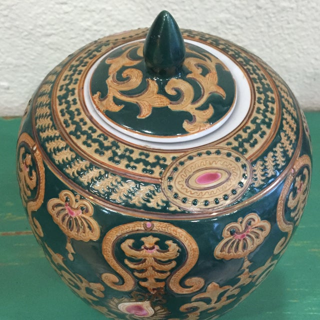 Vintage Chinese Green and Gold Vase With Lid - Image 3 of 5