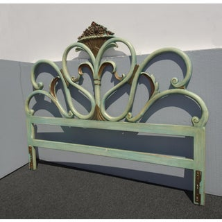 Vintage French Country Provincial Rococo Green King Headboard Preview