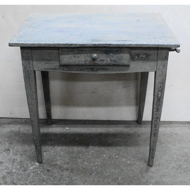 "Antique French Country work table in old paint from the South of France. Measures ""29 x ""30.50 x ""20. Overall good..."