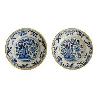 18th-Century Antique Dutch Delft Plates, a Pair For Sale