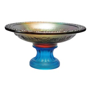Chinese Liu Li (Crystal Glass) Pate-de-verr Candle Holder Offering Holder For Sale