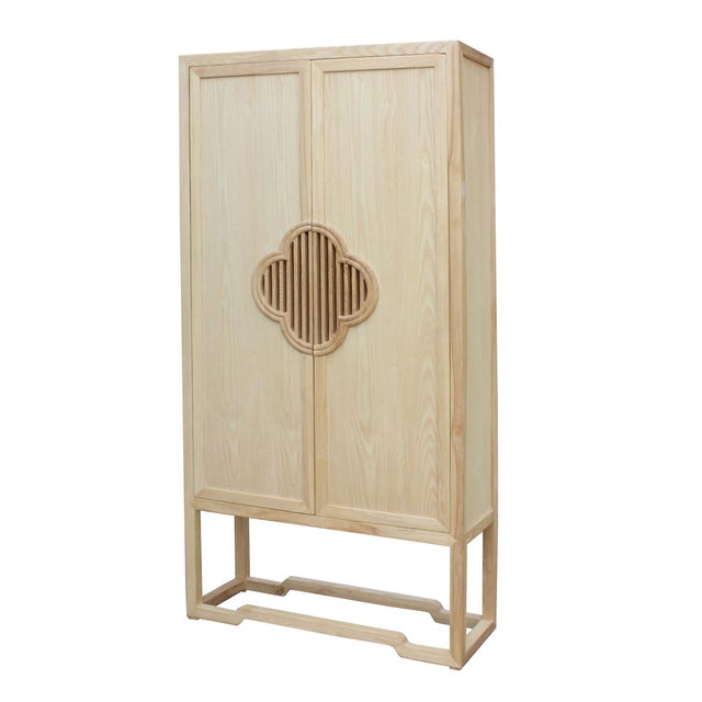 Minimalist Light Raw Wood Shutter Doors Bookcase Display Dresser Cabinet For Sale - Image 4 of 9