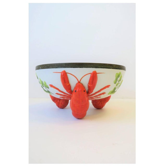 Limoges, France French Limoges Majolica Style Lobster Decorated Serving Bowl For Sale - Image 4 of 10