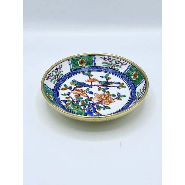 1950s 1950s Japanese Emerald Green and Blue Brass Cased Bowl with Birds For Sale - Image 5 of 11