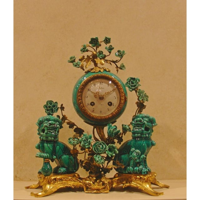 A Chinese Porcelain and French Ormolu Mounted Clock Garniture - Image 3 of 8