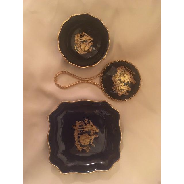Vintage Cobalt Blue Limoges Pocelain D'Art Vanity Set For Sale - Image 9 of 13