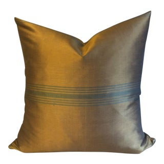 Silk Scalamandre Bronze Moire Pillow For Sale