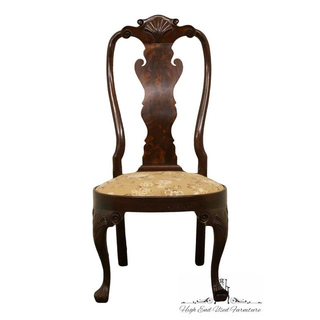 Stickley Queen Anne splatback mahogany dining side chair with an upholstered seat.