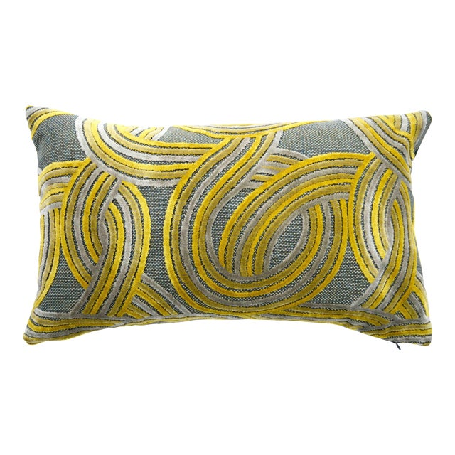 FirmaMenta Italian Geometric Green & Yellow Velvet Lumbar Pillow For Sale