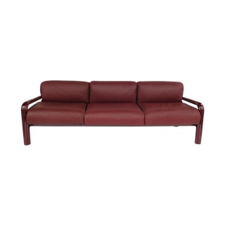 Three-Seater Sofa in Burgundy Leather Per Aulenti Gae for Knoll For Sale