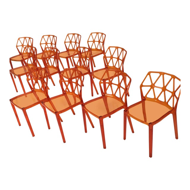 Calligaris Alchemia Dining Chairs in Orange - Set of 12 For Sale