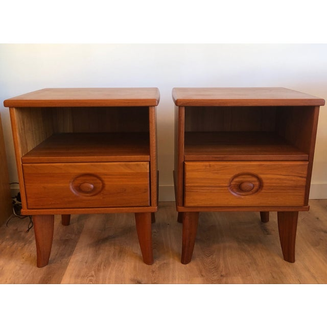 Danish Teak Nightstands With Drawers - a Pair For Sale In Seattle - Image 6 of 6