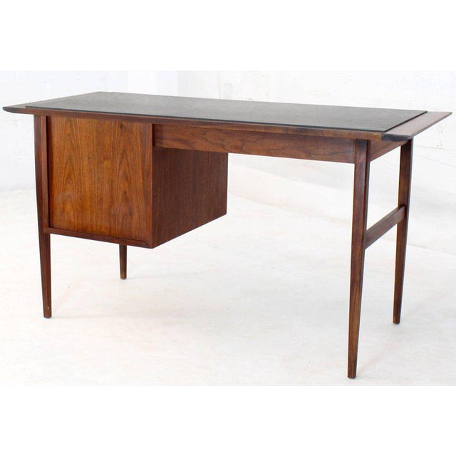 Medium Small Danish Mid-Century Modern Oiled Walnut Desk With Slate Top For Sale - Image 10 of 11