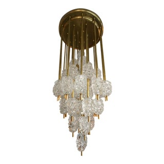 Barovier Diamant Brass and Textured Murano Glass Chandelier For Sale