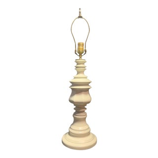 Mid-Century Antique White Painted Brass Lamp For Sale