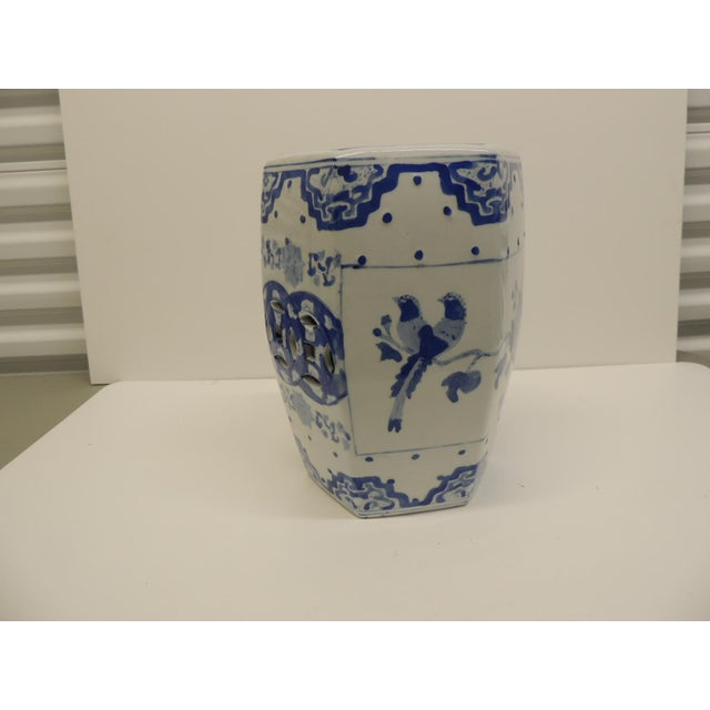 Vintage Blue and White Floral Mini-Garden Stool - Image 7 of 7