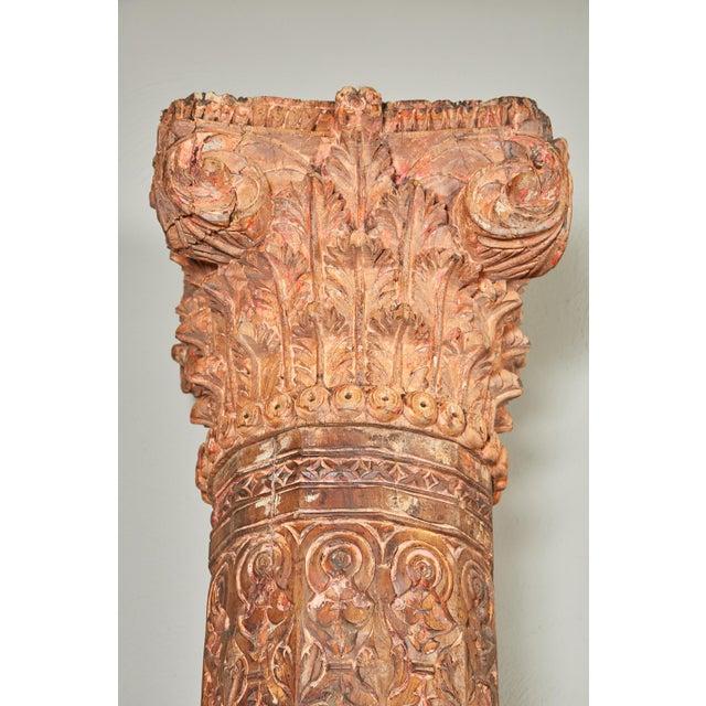 Pair of Orange Tall Indian Teak Wood Pillars - Image 3 of 9