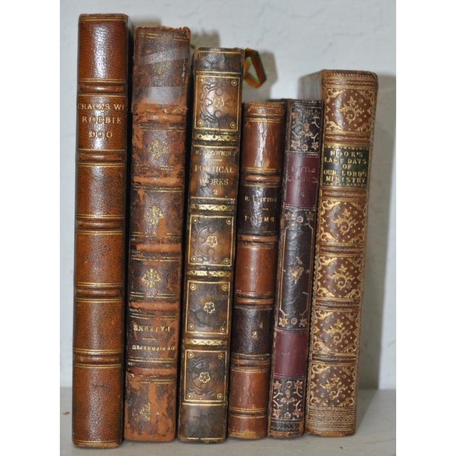 Antique Leather Bound Books - Set of 6 - Image 6 of 7