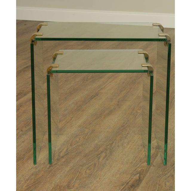 Mid-Century Modern Mid Century Modern Floating Glass & Brass Set 2 Nesting Tables For Sale - Image 3 of 13