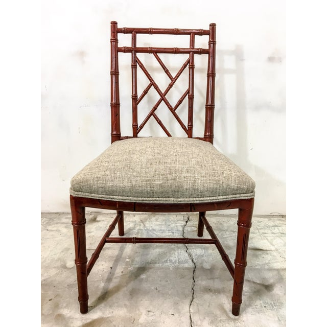 Chippendale Century Faux Bamboo Chairs - Set of 10 For Sale - Image 3 of 7