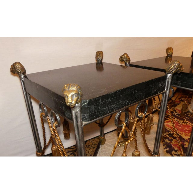 Maitland - Smith Maitland Smith Hollywood Regency Iron & Brass Tassel Table With Brass Lion Heads- a Pair For Sale - Image 4 of 11