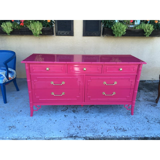 Wood Faux Bamboo High Gloss Pink Dresser For Sale - Image 7 of 7