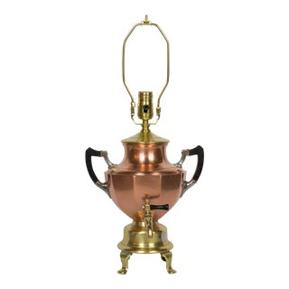 Brass and Copper Samovar Lamp For Sale