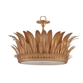 Currey & Co. Havana Gold Leaf Pendant Light For Sale
