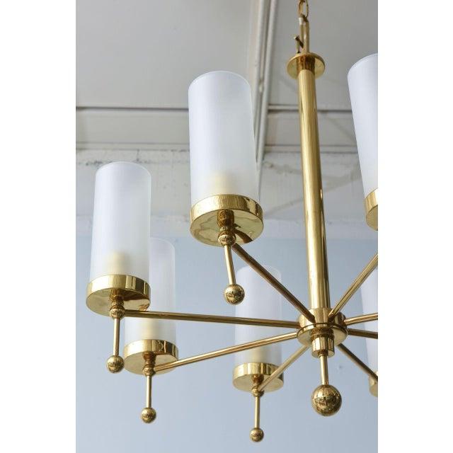 Italian Modern Brass and Glass Eight-Light Chandelier in the Manner of Stilnovo For Sale - Image 4 of 9
