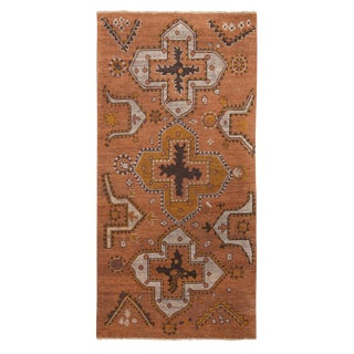 Burano Golden-Orange and Grey Wool Rug-3'11'x8' For Sale