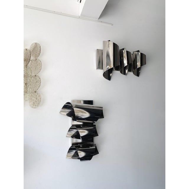 Italian Pair of Spiral Metal Chrome Sconces by Reggiani. Italy, 1970s For Sale - Image 3 of 8