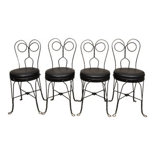 Antique Twisted Heart Back Wrought Iron Ice Cream Parlor Dining Chairs - Set of 4 For Sale