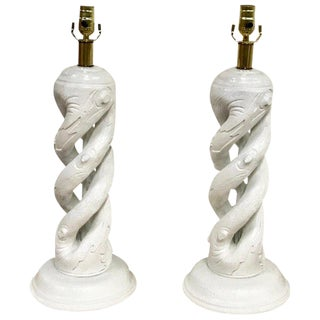 Pair of Faux Bois Barley Twist White Lacquered Lamps For Sale