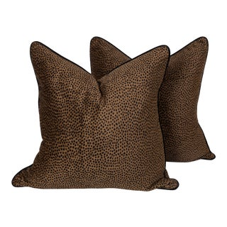 Chocolate Spotted Tanzania Pillows, a Pair For Sale