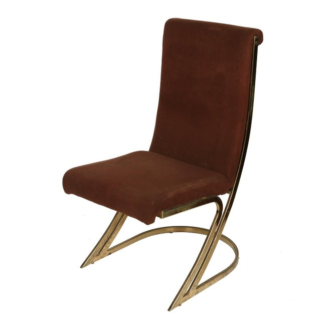 Traditional Mid-Century Brass Side Chairs- Set of 4 For Sale - Image 3 of 4