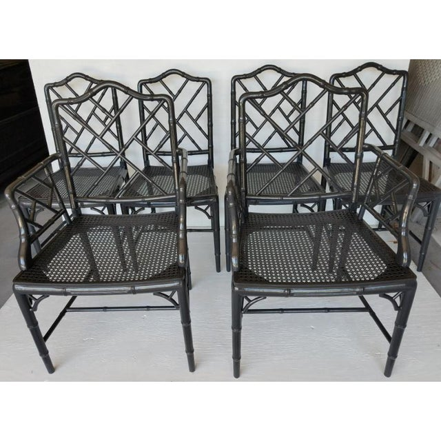 Gorgeous Circa '72 Chippendale Chair set. 2/ Arm & 4/ side chairs. Cane seats. Recently painted Charcoal Black High Gloss....