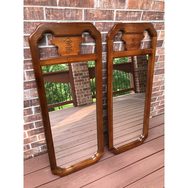 Glass 1970s Chinoiserie Bassett Wood Wall Mirror For Sale - Image 7 of 8