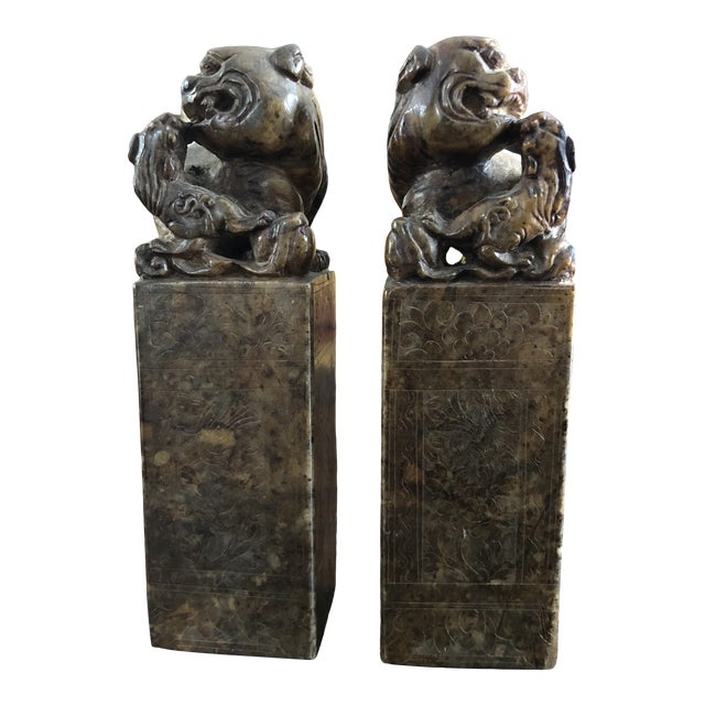 19th Century Hand Carved Brown Shoushan Soapstone Chinese Chop Seals - a Pair For Sale